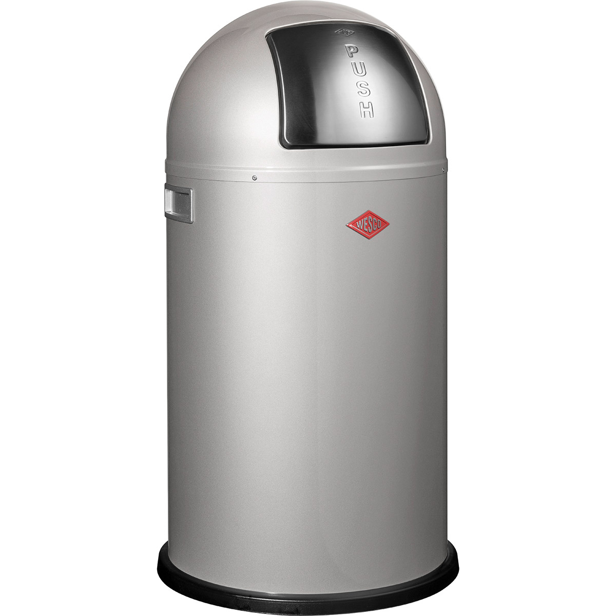 Tylko na zewnątrz Duży kosz na śmieci srebrny PushBoy 50 litrów Wesco | sklep KB25
