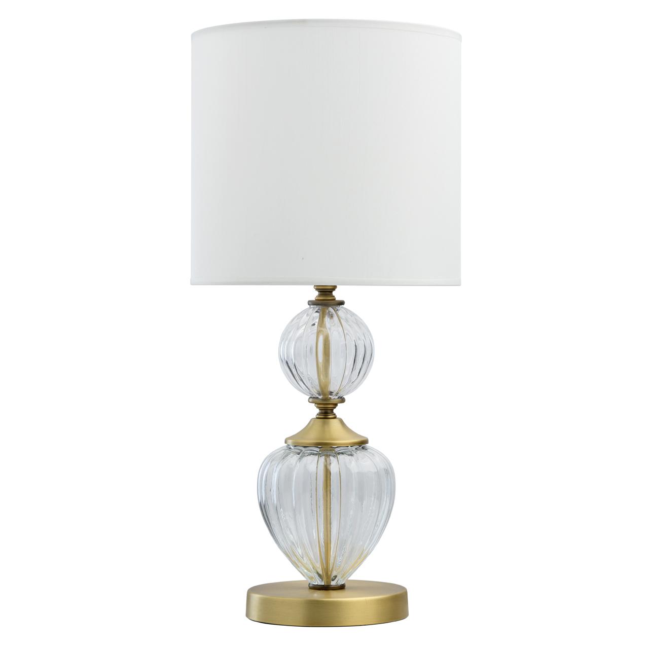 Klasyczna lampa stołowa do sypialni, antyczny mosiądz i biały klosz CHIARO