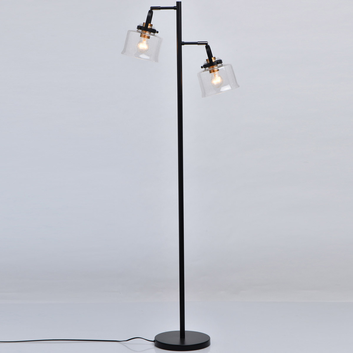 Lampa Podłogowa Podwójna Czarna Szklane Klosze Walter Demarkt Megapolis