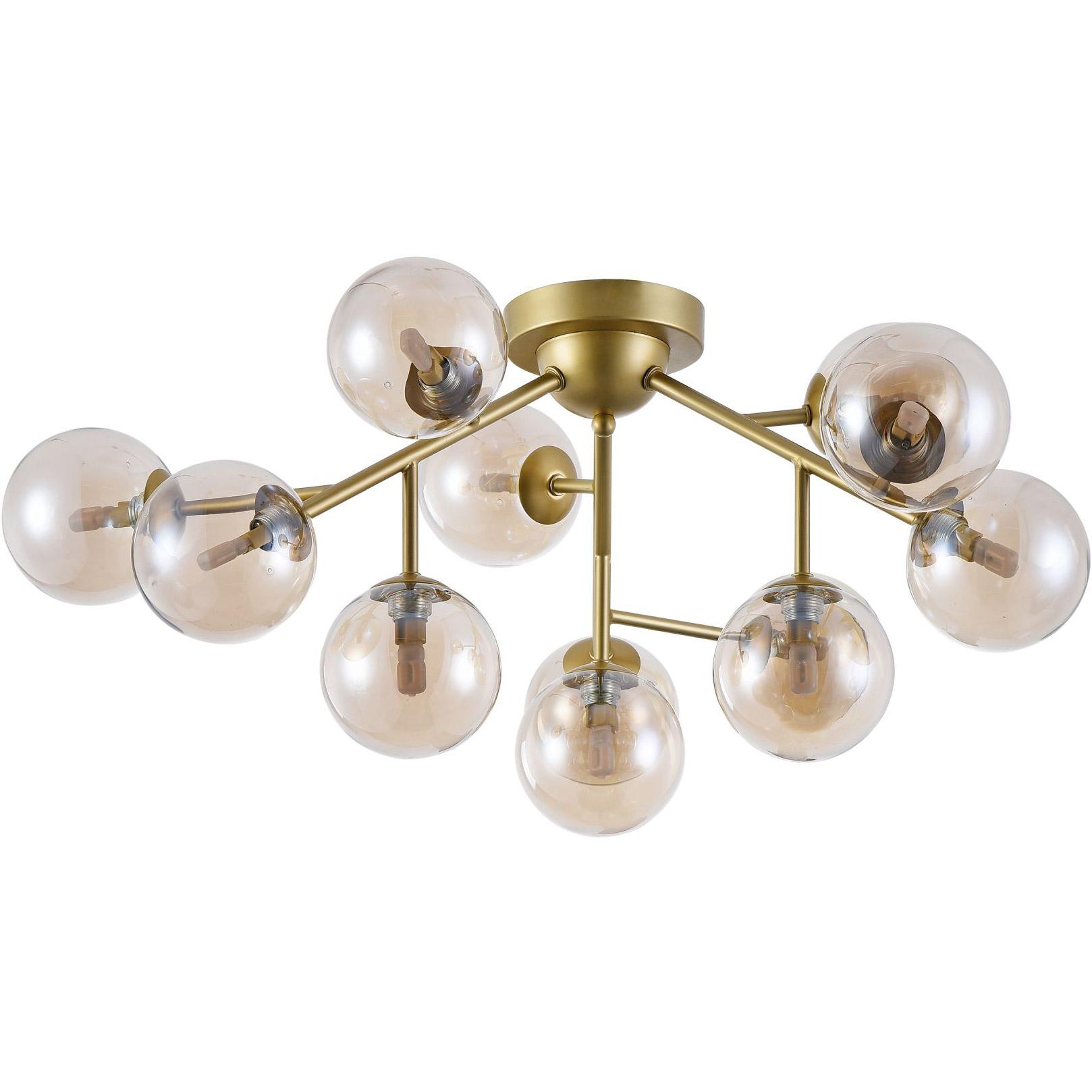 Lampa Sufitowa Zlota Z Bursztynowymi Kulami Dallas Maytoni Modern