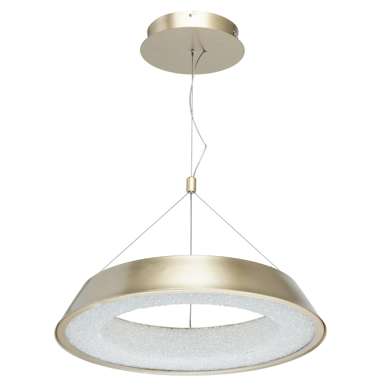 Lampa wisząca LED o kształcie pierścienia, matowe złoto, teksturowane wnętrze