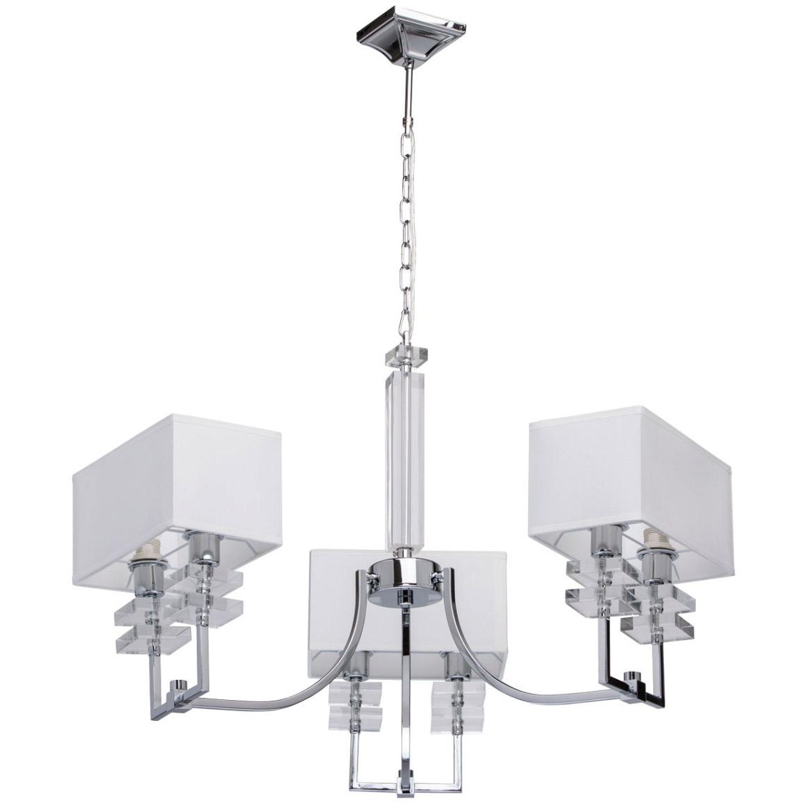 Lampa wisząca prostokątne, białe klosze, 3 ramiona, 6 żarówek MW-Light Megapolis