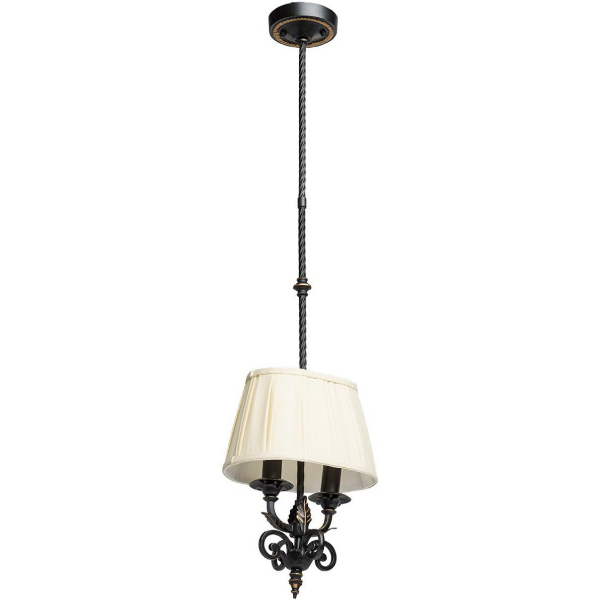 Lampa wisząca z kutego żelaza, 2 żarówki, kolor czarny, abażur beżowy Chiaro