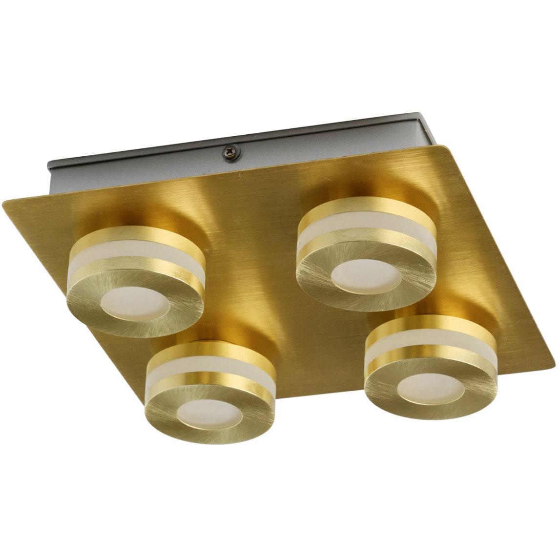 Oświetlenie Sufitowe Do łazienki Matowe Złoto 4 Punkty Led Demarkt Techno