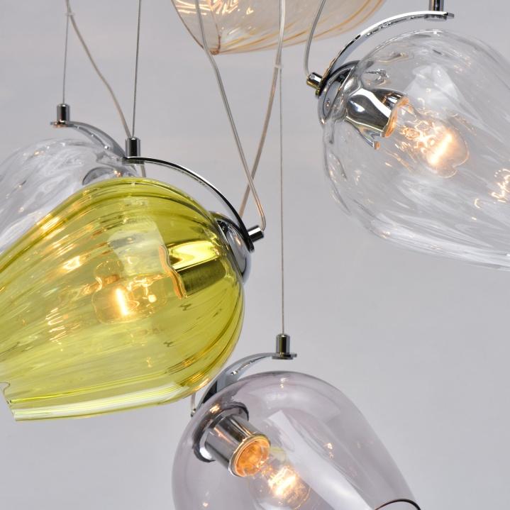Szklane Lampki Wiszące Na Stalowych Linkach Kolorowe Regenbogen Megapolis