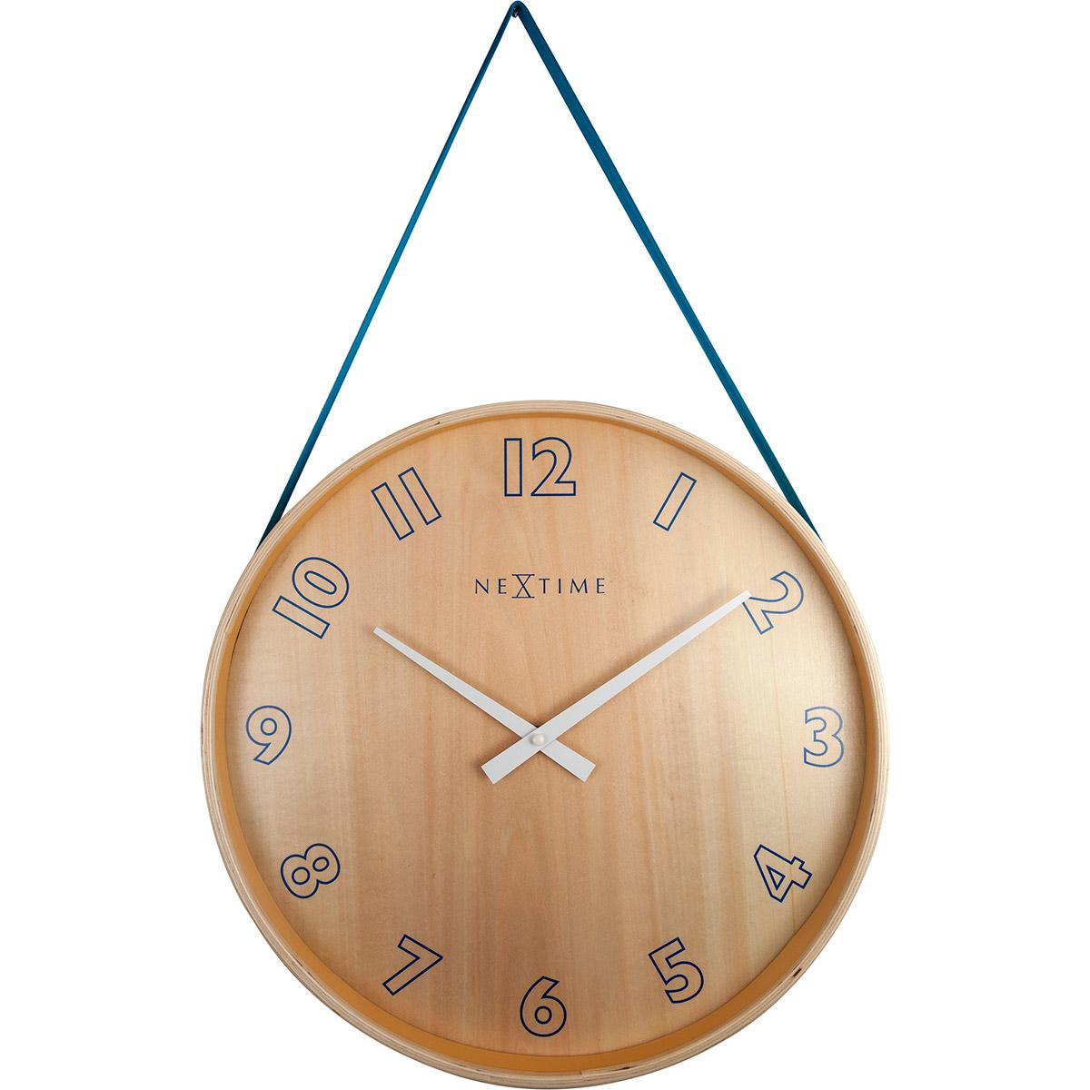 Zegar Na ścianę Wiszący Na Taśmie Loop Big Nextime Niebieski