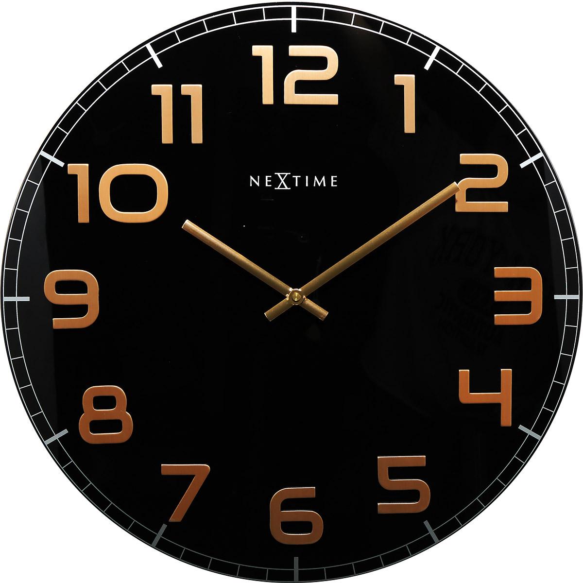 Zegar ścienny Classy Nextime 30 Cm Czarno Miedziany