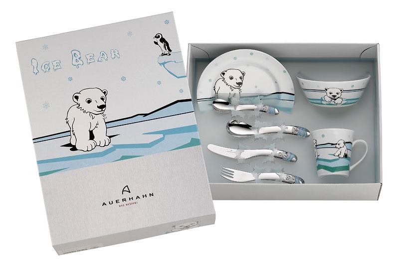 Zestaw Naczyń I Sztućców Dla Dzieci Ice Bear Auerhahn 7 Części